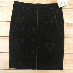 Zara Black Brocade Pencil Skirt Size Small
